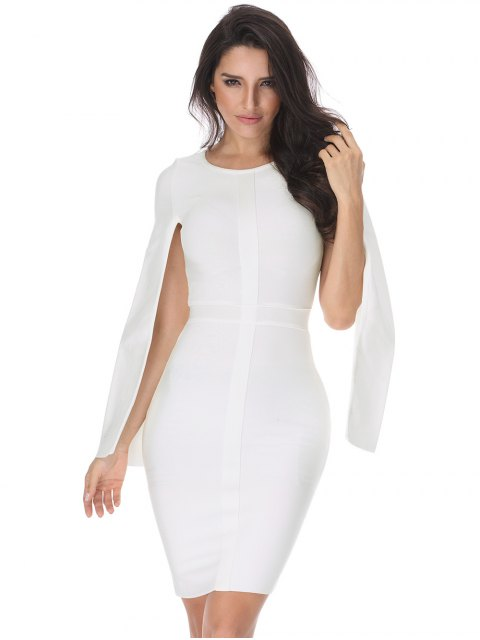 outfit Slit Sleeve Plain Bandage Dress - WHITE L Mobile