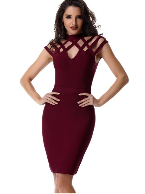 fashion High Neck Cut Out Bandage Dress - WINE RED M Mobile