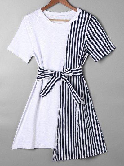 Vestido Asimétrico De Rayas Mini Tee - Azul M