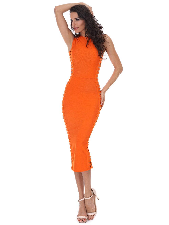 Hollow Out Sleeveless Slit Bandage Dress 218926801