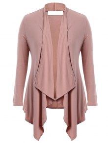 Cut Out Plus Size Shawl Collar Cardigan - Pink Xl