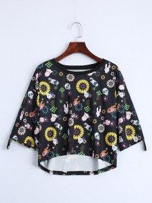 Drop Shoulder Animal Floral Print Tee - Black