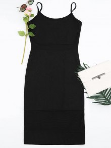 Mesh Panel Cami Sheath Dress - Black Xl
