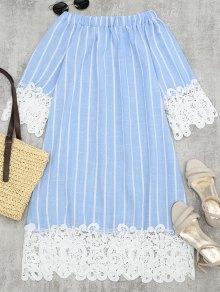 Lace Panel Striped Shift Dress - Light Blue S