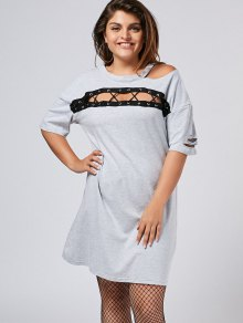 Plus Size Cut Out Ripped Tee Dress - Gray 5xl