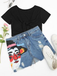 Ripped Figure Graphic Denim Skirt - Denim Blue M