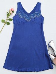 Lace Trim Satin Sleep Tank Dress - Sapphire Blue L