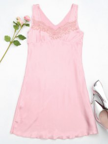 Lace Trim Satin Sleep Tank Dress - Pink M