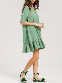 Short Sleeve Flounces Shift Dress - Green Xl