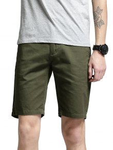 Side Pockets Zip Fly Men Shorts - Green 32