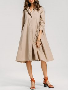 Casual Button Up Shirt Dress - Khaki M