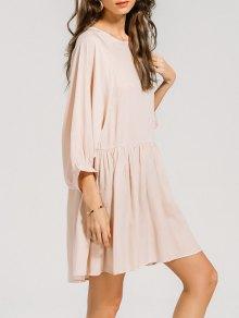 Ruffled Seam Batwing Sleeve Mini Dress - Pink S
