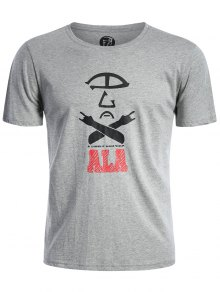 Short Sleeve Cotton Blend Graphic T Shirt - Gray L