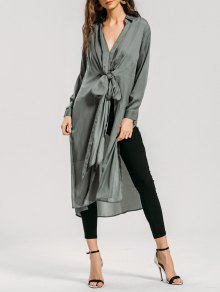 Longline Bowknot High Slit Shirt - Sage Green S