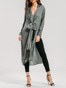 Longline Bowknot High Slit Shirt - Sage Green L