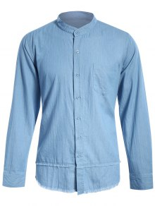 Frayed Hem Mandarin Collar Denim Shirt - Light Blue Xl