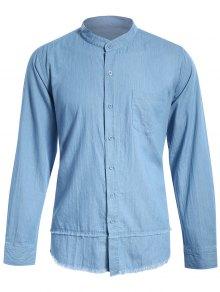 Frayed Hem Mandarin Collar Denim Shirt - Light Blue S