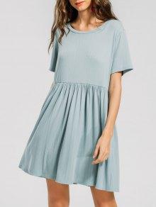 Knitted Ruffled Seam Mini Dress - Sage Green S