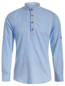Mandarin Collar Half Button Denim Shirt - Light Blue L