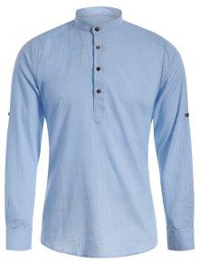 Mandarin Collar Half Button Denim Shirt - Light Blue Xs