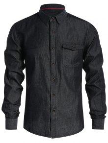 Pocket Single Breasted Denim Shirt - Black S