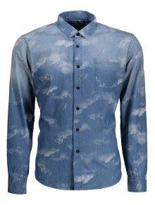 Pocket Tie Dyed Denim Shirt - Blue Xl