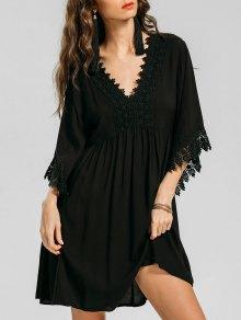 Empire Waist Lace Trim Mini Dress - Black L