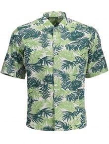 Half Sleeve Leaf Print Denim Shirt - Floral M
