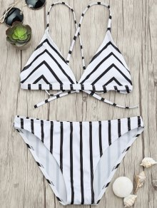 Chevron Stripe Padded Strappy Bikini Set - White And Black M