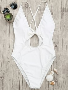 Knot Plunge Cutout One Piece Swimsuit - White M