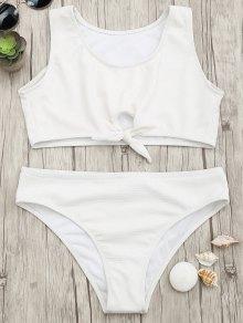 Textured Knotted Crop Bikini Set - White M