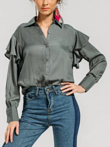 Layered Loose Ruffles Shirt - Army Green M