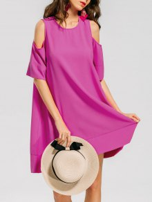 Casual Cold Shoulder Tee Dress - Rose Red L