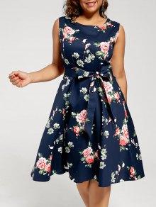 فستان طباعة الأزهار بلا اكمام الحجم الكبير شاي الطول - الأرجواني الأزرق 4xl
