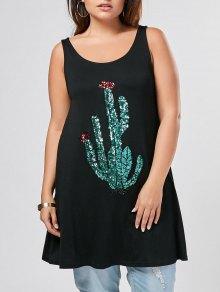 Plus Size Sequins Cactus Pattern Tank Top - Black 5xl