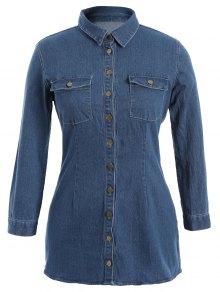 Button Down Jean Plus Size Shirt With Pockets - Denim Blue Xl