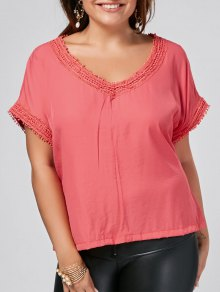 Batwing Plus Size Lace Trim Top - Peach Red 4xl