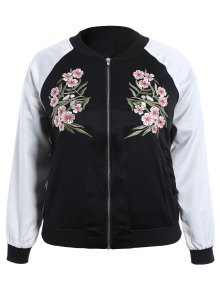 Embroidered Raglan Sleeve Baseball Jacket - Black 2xl