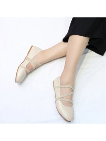 Buy Elastic Band Faux Leather Flat Shoes - OFF-WHITE 37