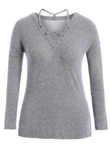 Slit Plus Size Strappy T-shirt - Light Grey 4xl