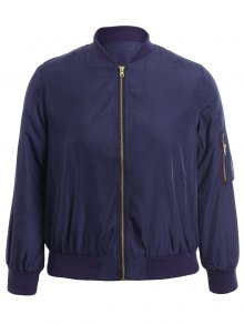 Plus Size Zippered Bomber Jacket - Blue 2xl