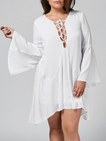 Flare Sleeve Plus Size Lace Up Dress - White 2xl