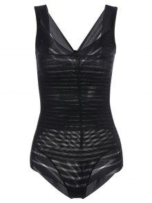 Underbust Sheer Stripe Body Corset Shaper - Black S