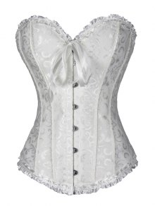 Lace Up Brocade Corset With Thong Panty - White S