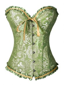 Lace Up Brocade Corset With Thong Panty - Green S