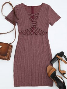 Criss Cross Cut Out Plunge Knitted Dress - Brick-red L