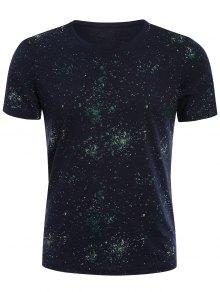 Brief Short Sleeve Patterned T-shirt - Deep Blue Xl