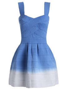 Sweetheart Neck Ombre Mini Dress - Blue