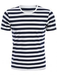 Mens Crewneck Striped Jersey Tee - Blue And White Xl