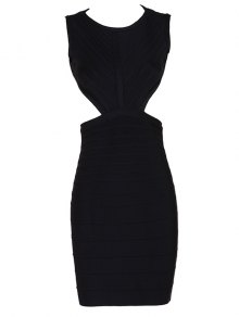 Halter Open Back Bodycon Bandage Dress - Black L